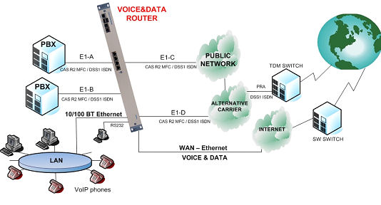 7495 Voice and data router application examples